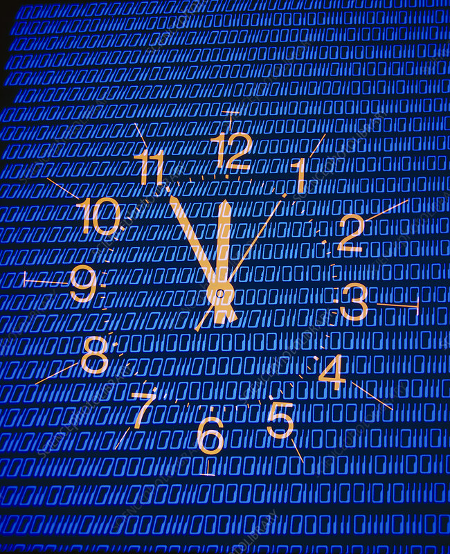 Clock face superimposed on binary data - abstract