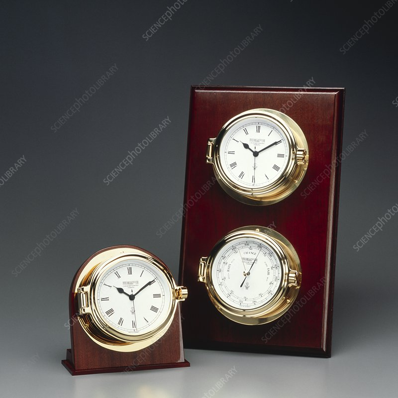 Clocks and a barometer