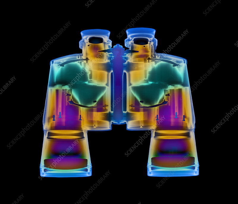 Coloured X-ray of a pair of binoculars