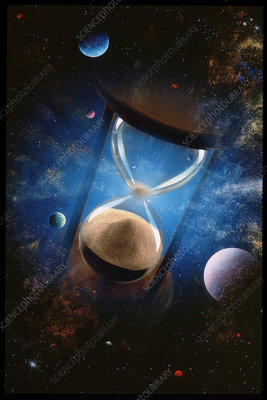 Conceptual image of an hourglass over planets