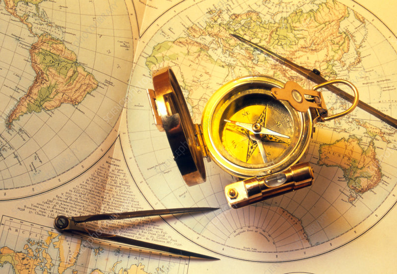 Magnetic compass on a map