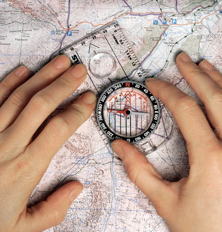 Magnetic compass and map
