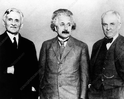 The physicists Michelson, Einstein and Millikan