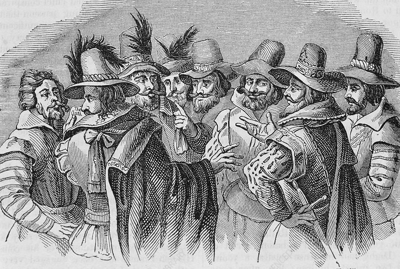 The gunpowder conspirators, 17th century