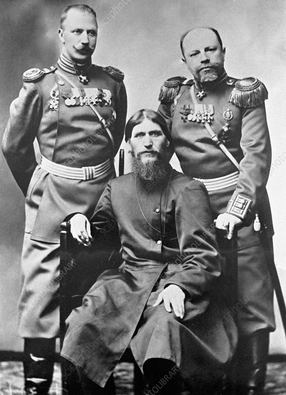 Grigori Rasputin with Russian soldiers