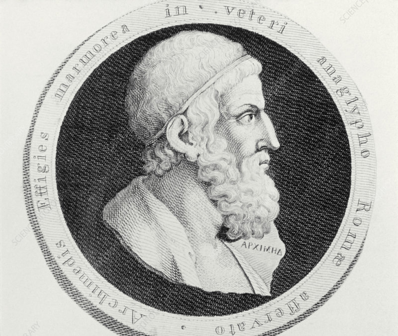 Engraving after bust of Archimedes