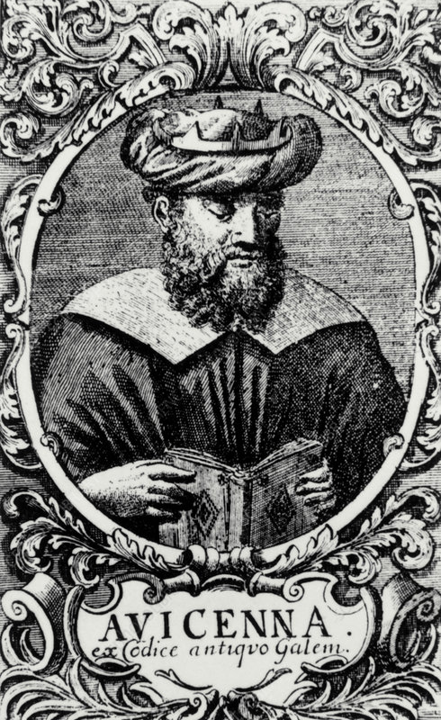 Engraving of Avicenna, Persian physician