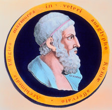 Coloured engraving of Archimedes