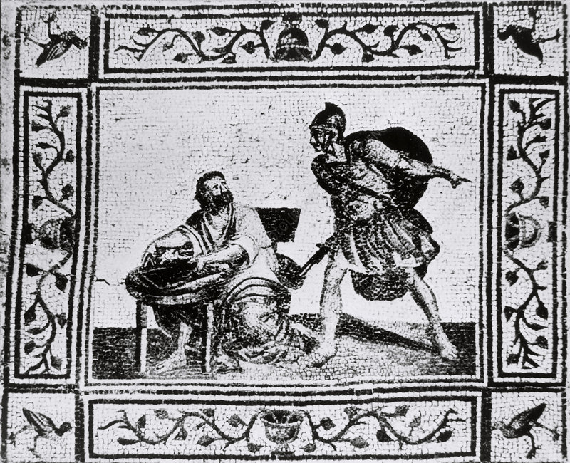Mosaic of Archimedes, the Greek mathematician