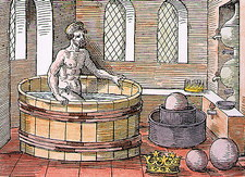 Coloured artwork of Archimedes in his bath