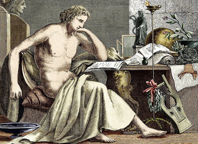 Aristotle studying in his youth