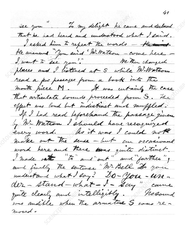 Page from Alexander Graham Bell's notebook
