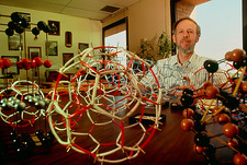 Peter Buseck, US chemist, with fullerene models