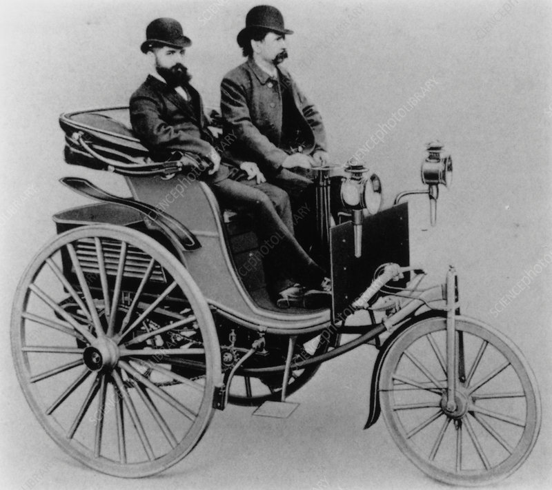Karl Benz in his third car, 1888