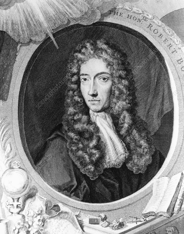 Engraving of Robert Boyle, British chemist