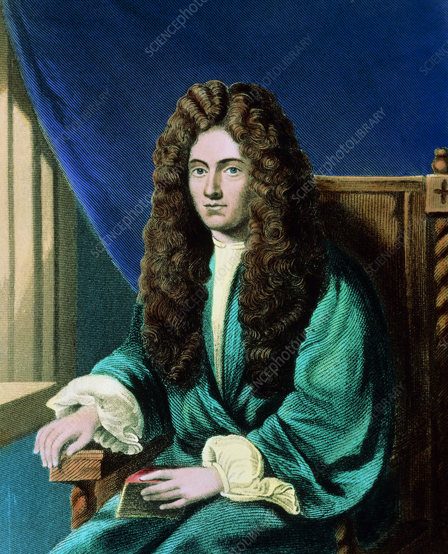 Coloured portrait of British chemist Robert Boyle
