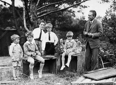 Niels Bohr with his sons