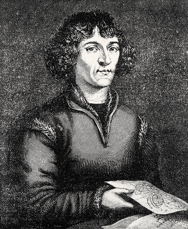 Engraving of Nicolas Copernicus, Polish astronomer