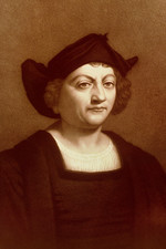 Sepia engraving of Christopher Columbus