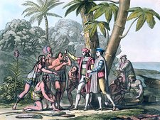 Columbus approaching the American Indians