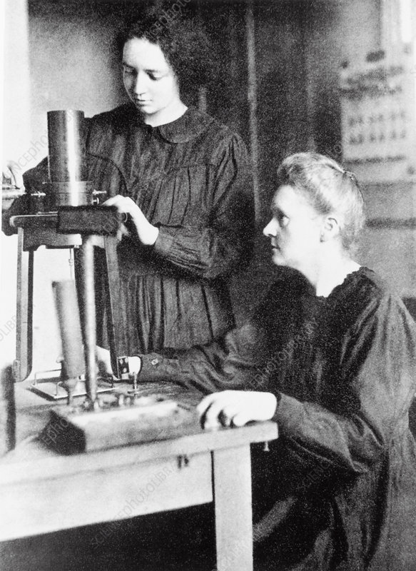 Portrait of Marie & Irene Curie, French physicists