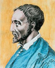 Coloured portrait of the Italian Girolamo Cardano