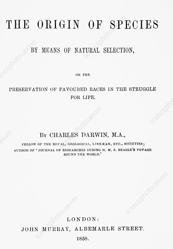 Frontispiece of C. Darwin's Origin of Species