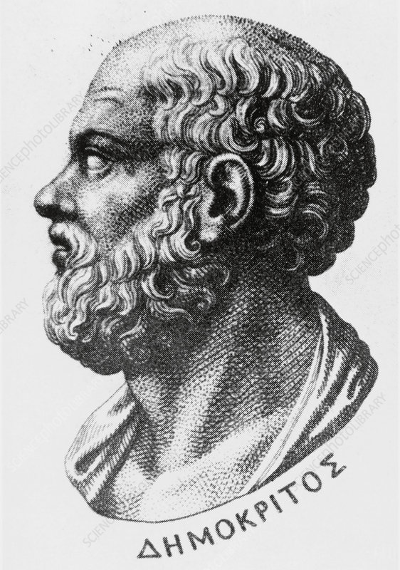 Engraving of Democritus, Greek philosopher
