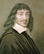 Engraving of French mathematician Rene Descartes