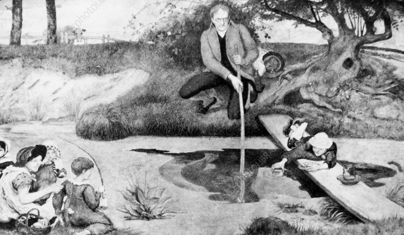 Artwork of John Dalton collecting marsh gas