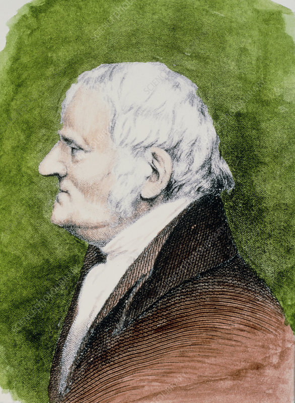 Coloured portrait of John Dalton, meteorologist