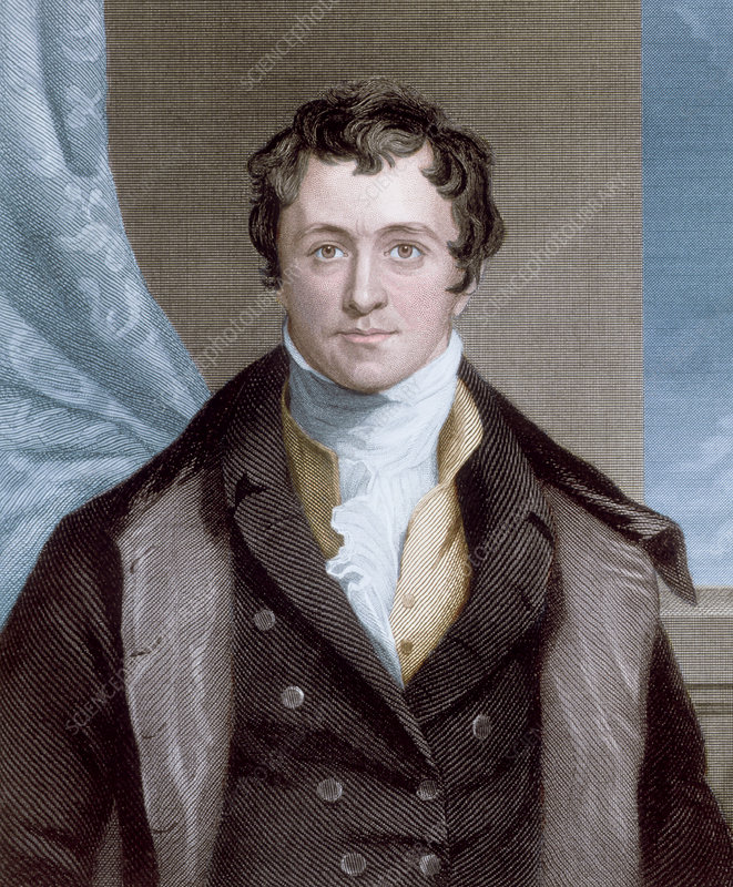 Coloured portrait of Humphry Davy, English chemist