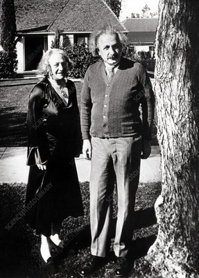 Albert Einstein with second wife, in early 1930s