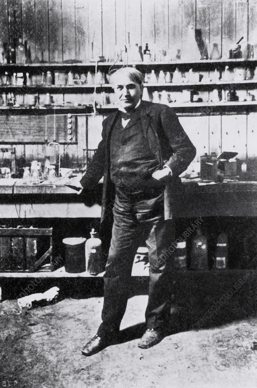 American inventor Thomas Edison in a chemical lab.