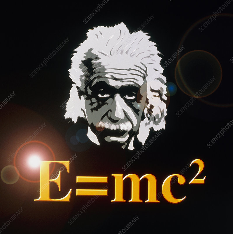 Computer artwork of Albert Einstein and E=mc2