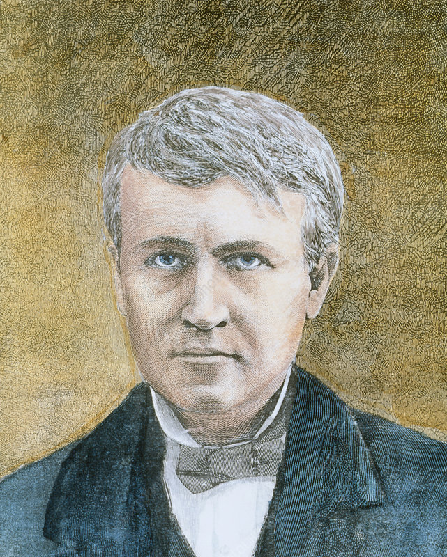 Coloured portrait of the inventor Thomas Edison