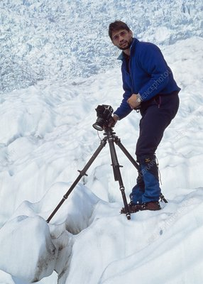 Bernhard Edmaier, German photographer, on glacier