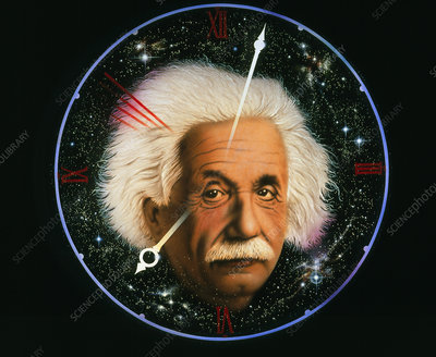 Artwork of Albert Einstein on a space clock