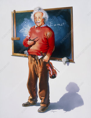 Artwork of Albert Einstein with violin and pipe