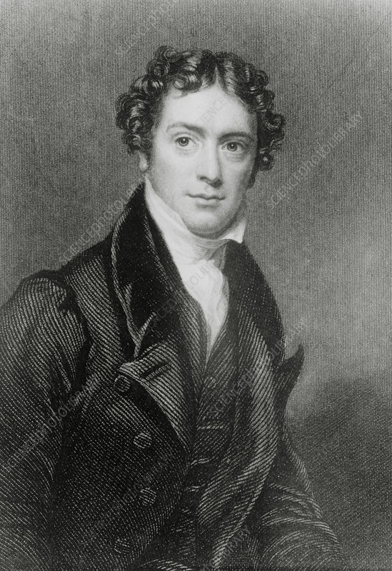 Engraving of Michael Faraday as a young man