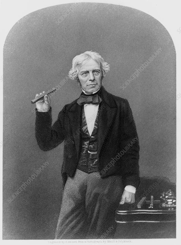 Michael Faraday holding glass bar
