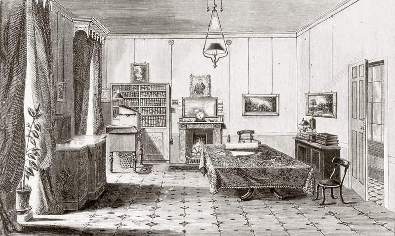 Engraving of interior of Faraday's study
