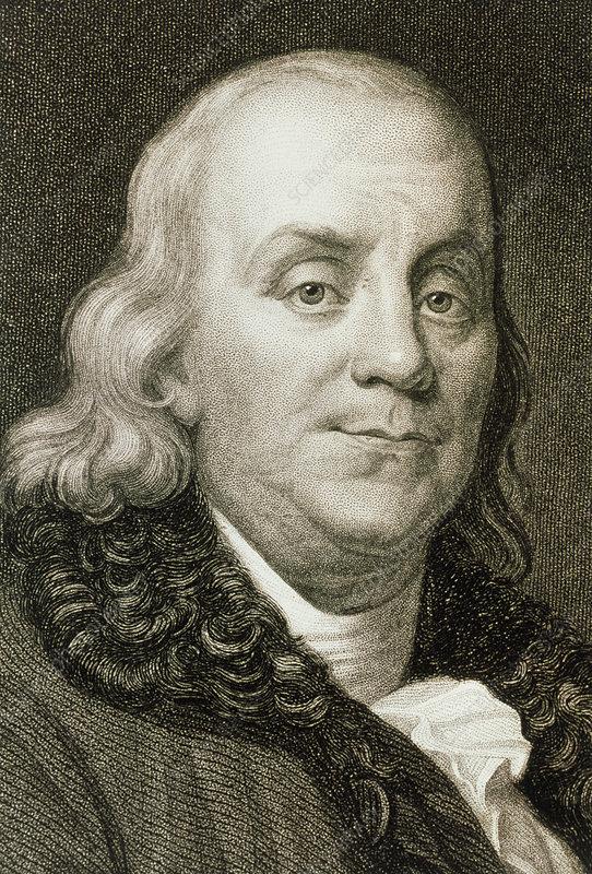 Portrait of American scientist Benjamin Franklin