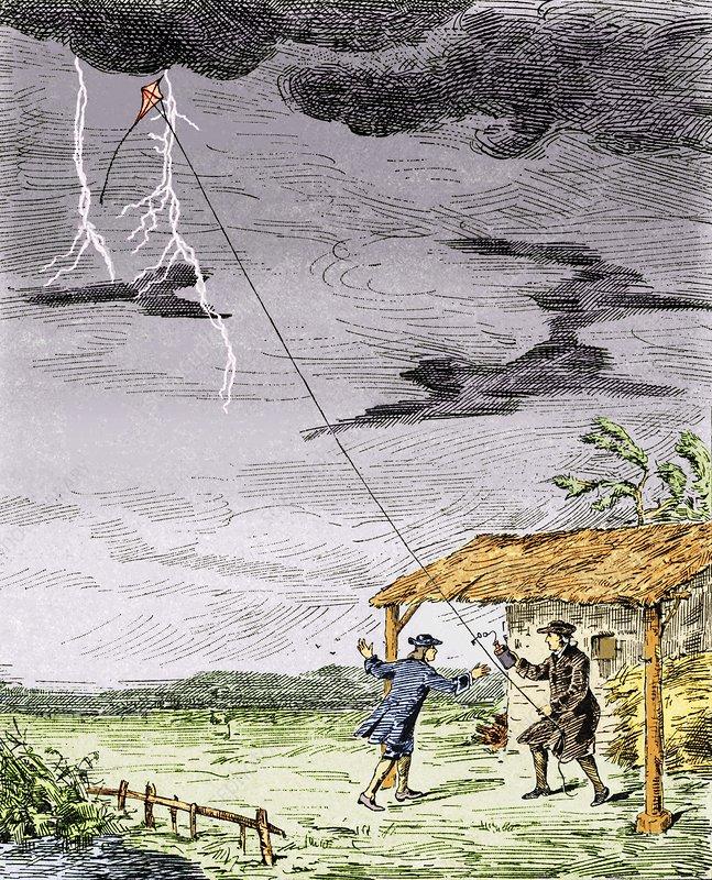 Franklin's lightning experiment, 1752
