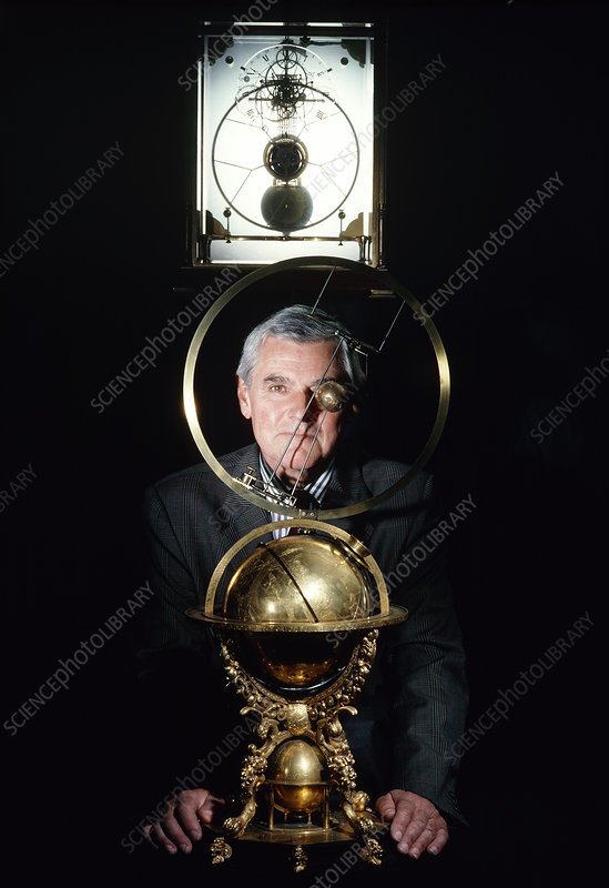 Bernard Guinot (Father Time) with old clocks