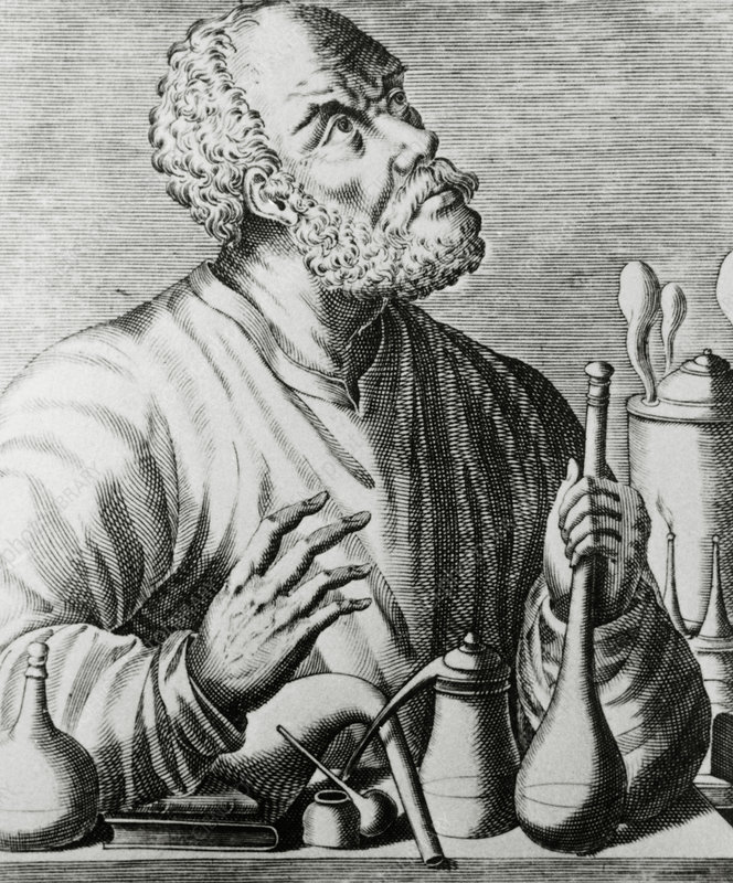 Engraving of Geber (or Jabir), Arabian alchemist