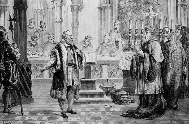 Galileo, Italian astronomer,being tried for heresy