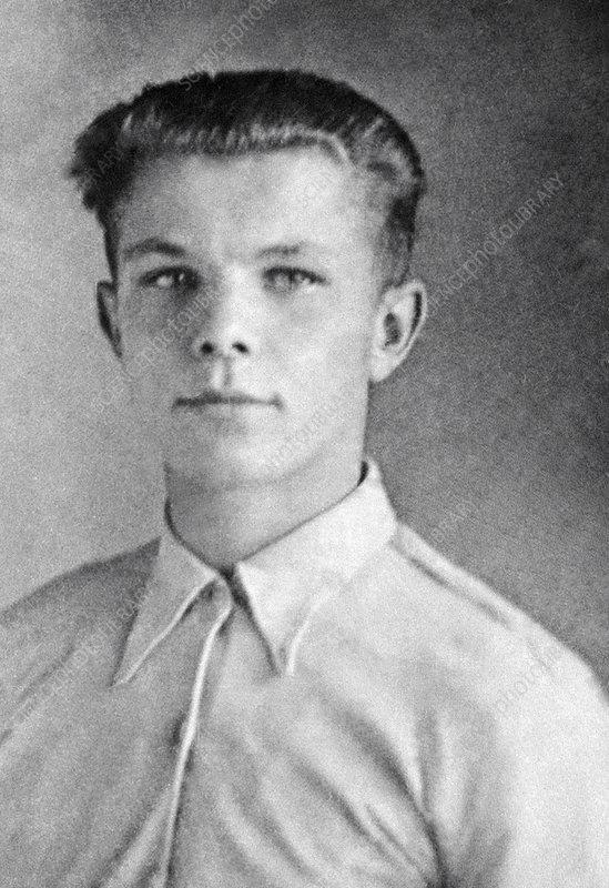 Yuri Gagarin as a teenager, 1950