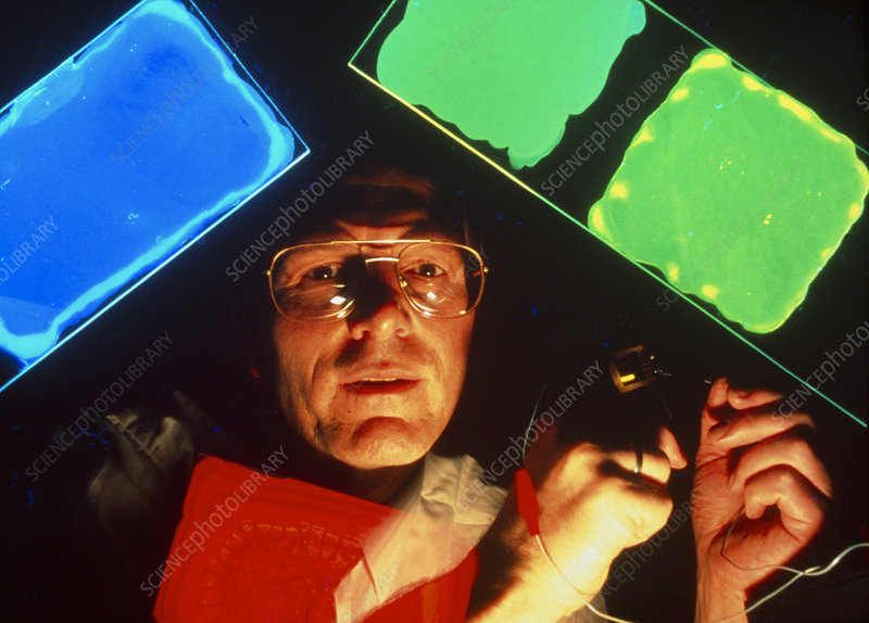 Dr Andrew Holmes with light-emitting plastics
