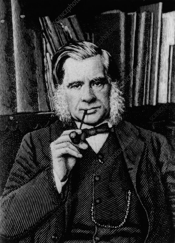 Engraving of biologist Thomas Huxley, in 1881